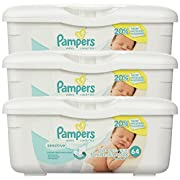 Pampers Baby Wipes Tub, Sensitive, 3 Tubs of 64 Wipes