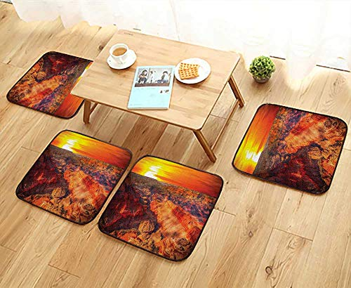 Leighhome Chair Cushions Horizon Overview Unique Grand Canyon Photo Saturated with Warm Color Effects Sunset Orange Non Slip Comfortable W25.5 x L25.5/4PCS Set ()