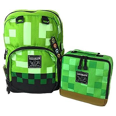 "JINX Minecraft Creepy Creeper Kids School Backpack Grey and Green 17/"" NWT"