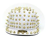 primerry Unisex Cortex Punk Rivet Hip-Hop Cap Hat (White)