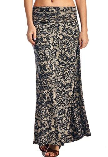LeggingsQueen Women's High Waisted Rayon Spandex Printed Maxi Skirt (S2428-Black+Taupe, Medium)
