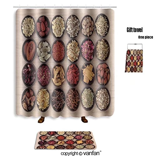 vanfan bath sets with Polyester rugs and shower curtain large chinese herbal medicine selection in wo shower curtains sets bathroom 40 x 72 inches&23.6 x 15.7 inches(Free 1 towel and 12 hooks)