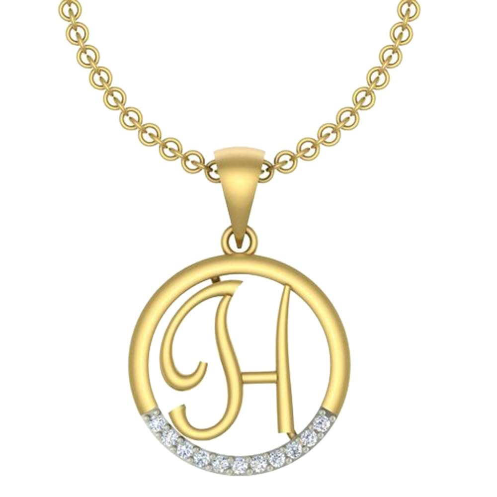 0.05 Ct Round Cut Simulated Diamond letterH In Circle pendant With 18 Chain 14K Yellow Gold Plated