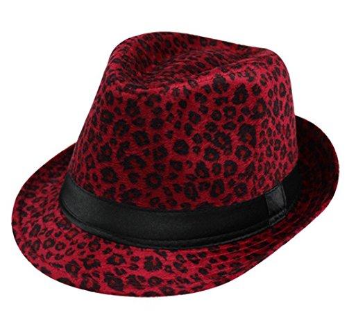 Men Women Leopard Print Stretch Turban Womens Head Fedora Retro Hip-hop Hat Red
