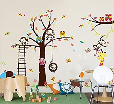 "haya TM Lovely blooms zoo nursery children's room decorative wall stickers Kids Vinyl Sticker Home Decoration""The owl monkey lion elephant"""