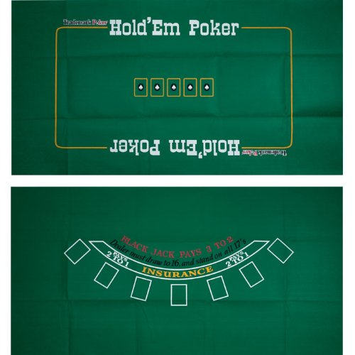 Deluxe 2 Sided Blackjack & Texas Holdem Felt Layout - Includes Bonus Deck of Cards! by TMG
