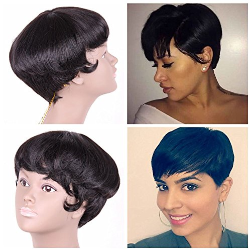 Price comparison product image Jiayi Short Pixie Cut Wigs for Black Women Mushroom Human Hair Premium Blend Wig Glueless Afro Short Straight Wig with Bangs Natural Black #1b