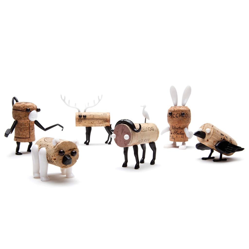 Corkers Animals Wine Accessories, Pack of 6 Different Crafting Parts for Corks, by Monkey Business