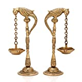 Pair of Bird Diya Oil Lamp Stand Holder Brass Hindu Religious Puja Art Fengshui Gifts