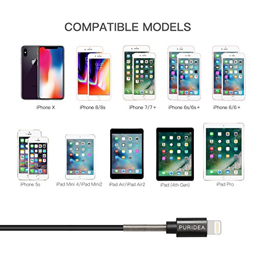 6Ft iPhone Charger Cable,Puridea 5Pack 6 Feet Lightning Certified Fast Charging Cord for iPhone X 8 7 6S 6 Plus iPad 2 3 4 Mini, iPad Pro Air, iPod (Black) by PURIDEA (Image #5)