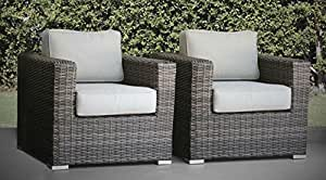 Patio Chair , Verona 2 Piece Club Seating Group with Cushion (2 Chairs, Camden Brown)
