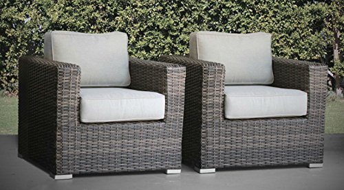 Living Source International Patio Chair, Verona 2 Piece Club Seating Group with Cushion (2 Chairs, Camden -