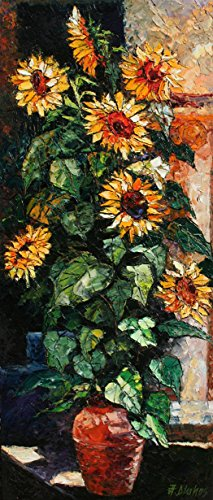 Warmth of the Sun's Flowers - enormous masterpiece palette knife painting of sunflowers
