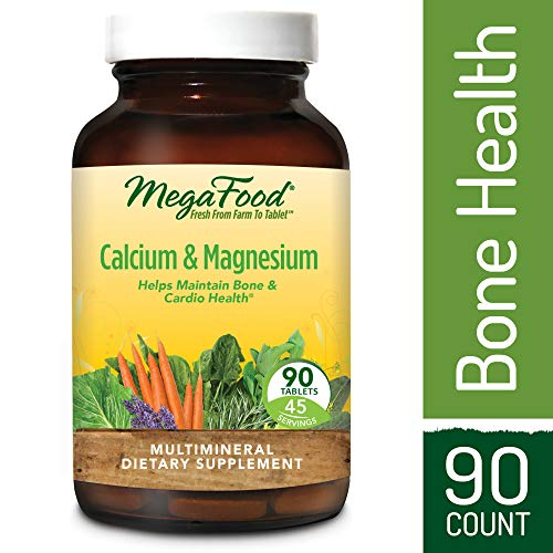MegaFood - Calcium & Magnesium, Promotes Healthy Bones, Muscles, Blood Pressure Levels, and Cardiovascular Health, Vegetarian, Gluten-Free, Non-GMO, 90 Tablets (FFP)