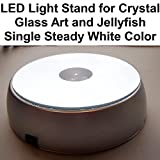 LED Light Stand Base for Crystal Glass Art and Jellyfish Single Steady White Color