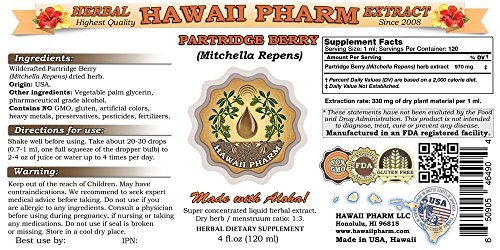 Partridge-berry-Liquid-Extract-Partridge-berry-Mitchella-repens-Squaw-Vine-Tincture-Herbal-Supplement-Hawaii-Pharm-Made-in-USA-32-floz