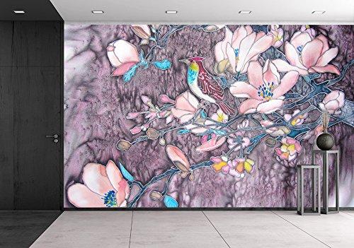 Original Batik Painting with Bird and Magnolia Tree Flowers