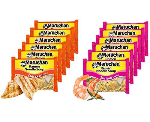 (Maruchan Ramen Noodle Soup Chicken Flavor 3 oz. (6 Pack) in Bundle with Maruchan Ramen Noodle Soup Shrimp Flavor 3 oz. (6 Pack))
