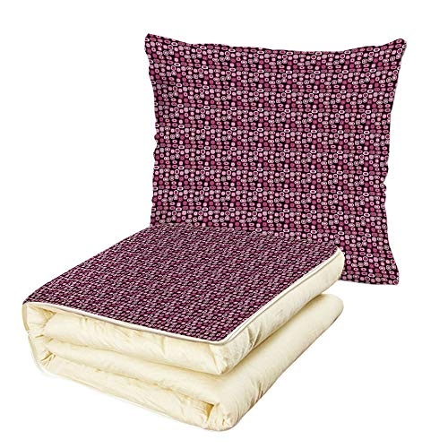 Quilt Dual-Use Pillow Abstract Oval Figures Vibrant Color Palette Modern Cubism Inspired Geometric Decorative Multifunctional Air-Conditioning Quilt Magenta Pale Pink ()