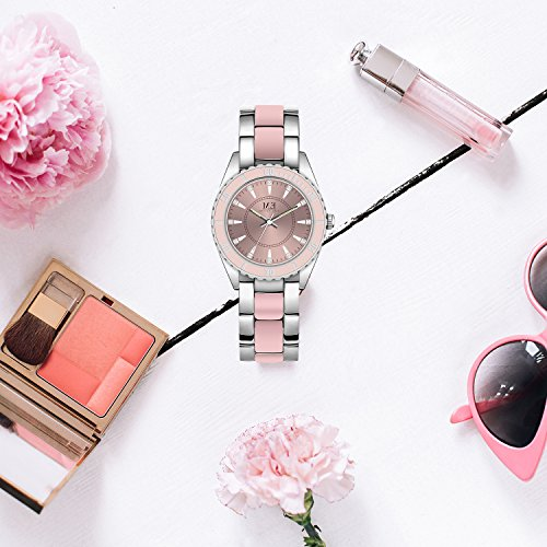 Amazon.com: Women Wrist Watch Pink and Silver 2 Tone Stainless Steel Bracelet Quartz Movement by M.E, Big Laser Dial with Diamond, Waterproof Sports Watch ...