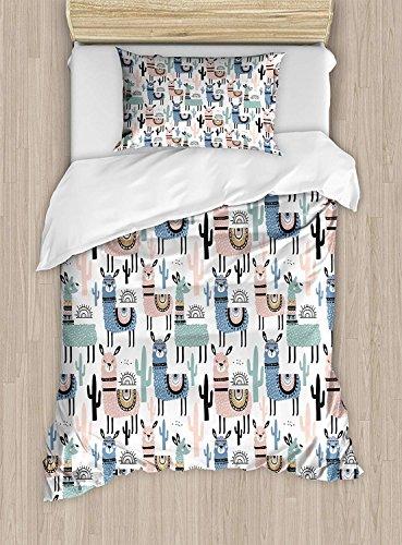 VAMIX Llama Duvet Cover Set Twin Size, Children Cartoon Style Hand Drawn South American Animals Alpacas and Llamas Design, Decorative 2 Piece Bedding Set with 1 Pillow Sham, ()