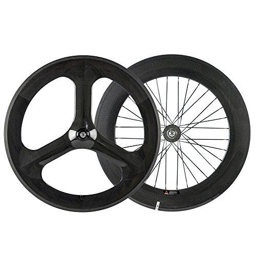 - Sunrise Bike Full Carbon Fixed Gear Wheel Front 3 Spoke Rear 88mm Track Bike Wheelset