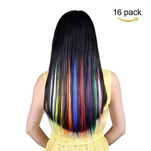 16PCS Colored Hairpieces 22Inch (55CM) Straight Clip in Hair Extensions Fashion Hairpieces Party Highlight Multiple Colors (16pcs Full Color (Hair Extensions For Kids)