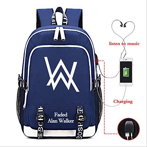 Alan Walker Backpack Luminous School Bags,Alan Walker School Rucksack Unisex Laptop Backpack for Kids/Students/Adults,with USB Charging Port (D)