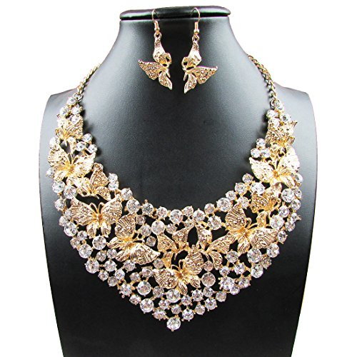Yuhuan Fashion Rhinestone Butterfly Necklace
