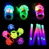 12pcs Flashing Bumpy Rings and 12pcs Foam Sticks Set, Taotuo 24 Pack LED Glow in The Dark Set, Mixed Colors Jelly Rubber Finger Lights Kids Toys for Party, Birthday, Weddings, Christmas, Halloween