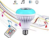 Bluetooth Speaker Bulb, 4.0 Speaker, RGB Color Changing Bluetooth LED Music Bulb, E27 Base with Wireless Remote Control for Music, Family, Party, Gym For Sale