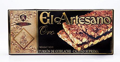 El Artesano ORO Nougat Noir Turron (Turron de Guirlache con Ajonjoli Serie Oro) 5.3 Oz (150 G)
