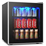 COSTWAY Beverage Refrigerator, 62 Can-1.6 Cu. ft Beverage Cooler with LED Light, Adjustable Thermostat, Removable Shelves, Perfect for Soda, Beer or Wine, Small Drink Dispenser Machine for Office, Bar