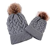 chinatera Mommy and Me Hat Baby Boys Girls Warm Crochet Knit Beanie Hairball Kids Caps