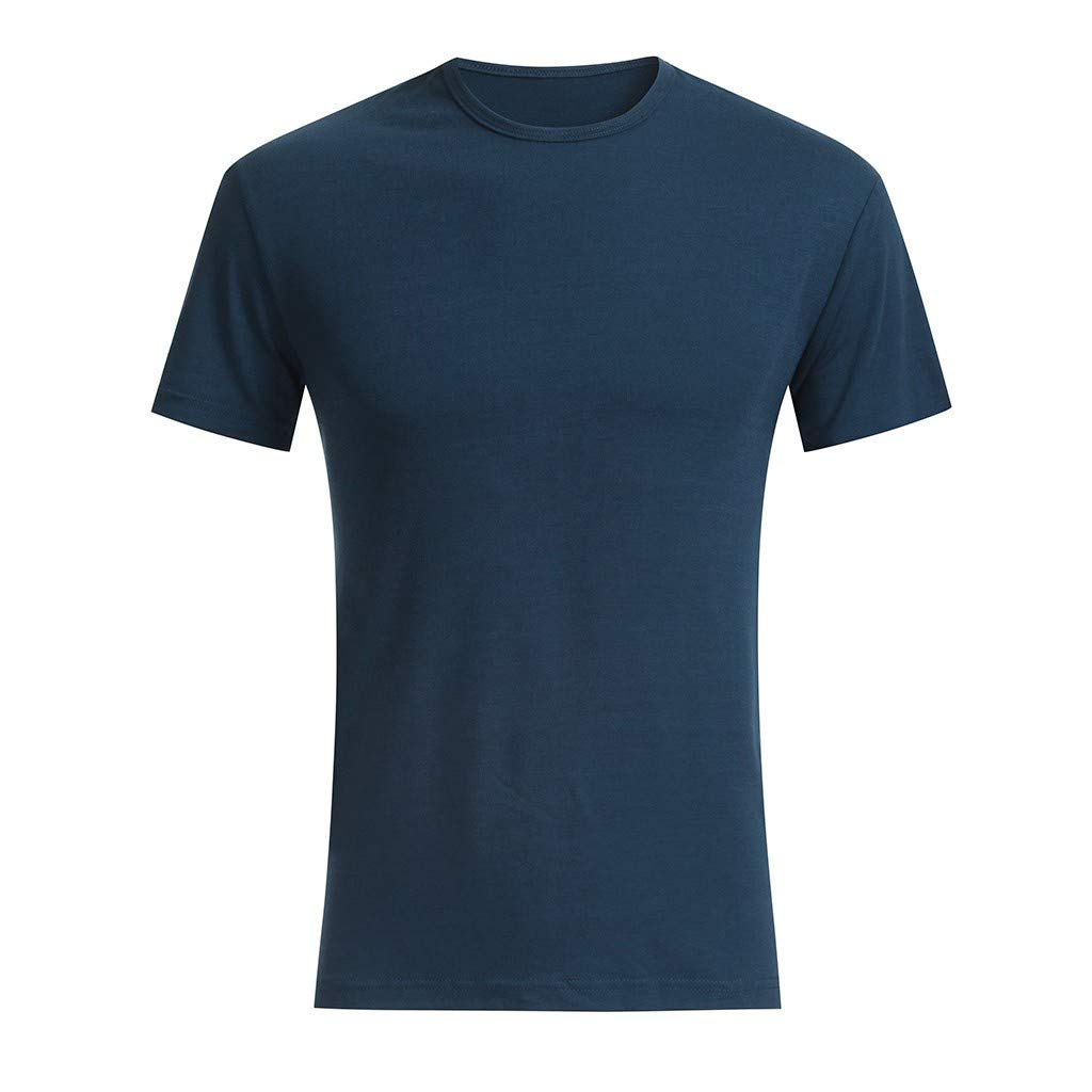 Topgee Mens Basic Casual Crew Neck T-Shirt ComfortSoft Solid Split Side Tops