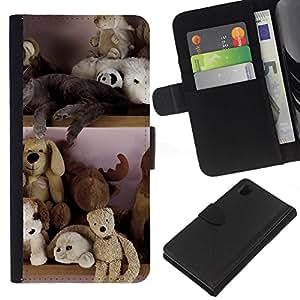 All Phone Most Case / Oferta Especial Cáscara Funda de cuero Monedero Cubierta de proteccion Caso / Wallet Case for Sony Xperia Z1 L39 // Toy Bear Stuffed Animals Teddy Kids