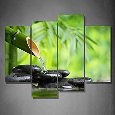 Life Water Black Zen Stone Green Spa Bamboo Fountain Gift 4 Panels Idea Painting Pictures HD Printing Home Office Wall Decoration Artwork by uLinked Art