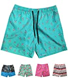 INGEAR Little Boys Quick Dry Beach Board Shorts Swim Trunk Swimsuit Beach Shorts with Mesh Lining (Turquoise Flamingo, 8/10)