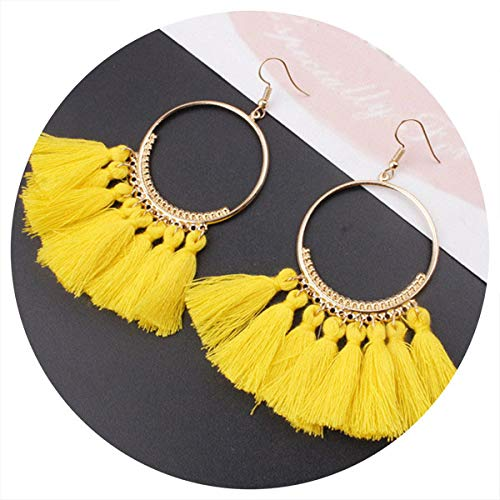 NEW Ethnic Bohemian Drop Dangle Long Rope Fringes Cotton Tassel Earrings Trendy Sector Earrings Women Fashion Jewelry yellow