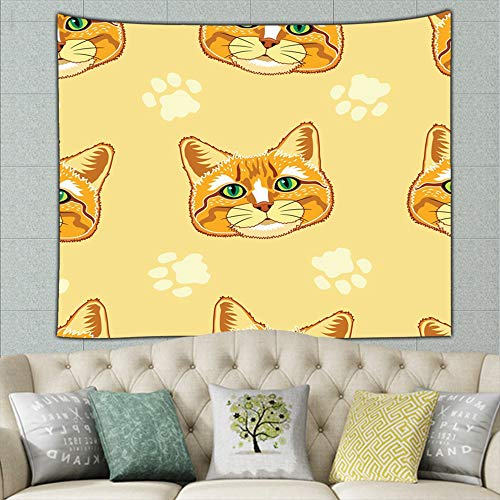 (JANICEAI Cute Yellow Tabby Cat Face Animals Tapestry Bohemian Wall Hanging, Psychedelic Wall Art, Dorm Décor, Wall Tapestries Art)