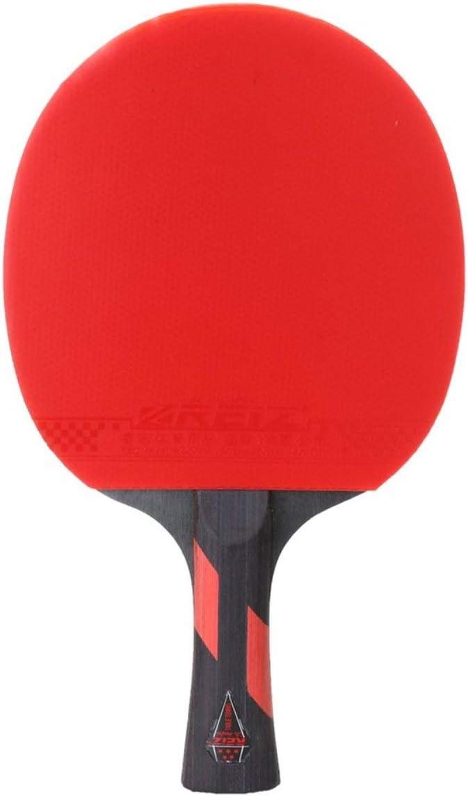 REIZ Raqueta de Tenis de Mesa 5 Estrellas Mango Corto o Largo Shake-Hand Ping Pong Paddle Match Raqueta de Entrenamiento con Estuche (Rojo y Negro) -BCVBFGCXVB