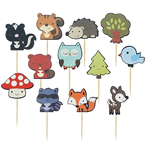 iMagitek 36 Pcs Woodland Creatures Theme Cake Toppers Forest Animals Friends Cupcake Toppers Picks for Birthday Party