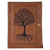 Leather Journal by Enew Leather Writing Tree of Life Journal Notebook, Vintage Leather Handmade Diary Blank Unruled Pages, Unlined Paper,Antique Handmade Leather Bound