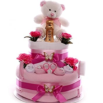 Swell Champagne Nappy Cake Baby Girl Beautifully Presented Luxury Nappy Personalised Birthday Cards Akebfashionlily Jamesorg