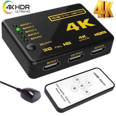 5-Port HDMI Switcher Switch Selector Splitter Hub iR Remote For HDTV 1080p 4K 3D