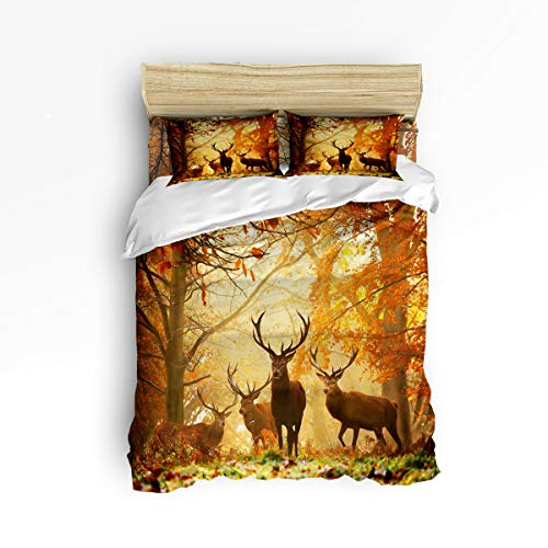 Heart Pain Deer Family -4 Pieces- Printed Bedding Sets Luxury Quilt Cool 100% Polyester for Kids Adults[NO Comforter] Wild Animal Forest Autumn Sunshine (Twin)