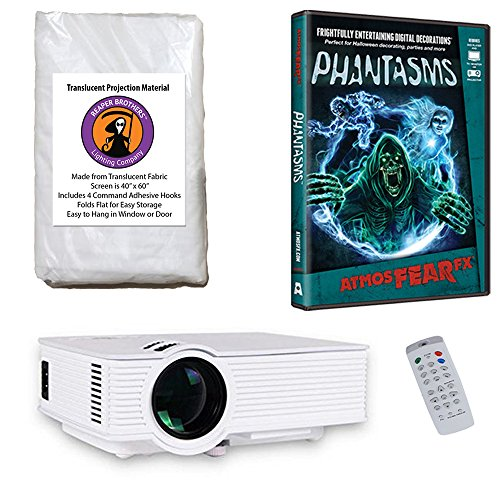 AtmosFearFx Phantasms Halloween DVD Projector Kit with 1900 Lumen LED Video Projector, Reaper Brothers High Resolution Window Rear Projection Screen