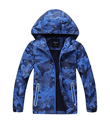 YoungSoul Gevoerde regenjas voor jongens, met patroon, overgangsjas, waterdicht, winddicht, softshelljas