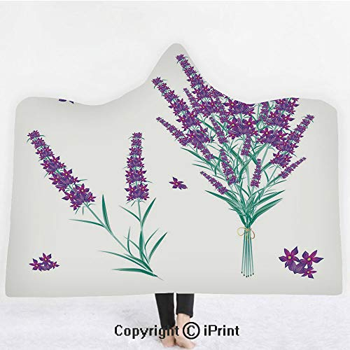 """Lavender 3D Print Soft Hooded Blanket Boys Girls Premium Throw Blanket,Aromatic Blossoms Bouquet from Provence France Fragrant Herbal Flora Decorative,Lightweight Microfiber(Kids 50""""x60"""")Purple Magent"""
