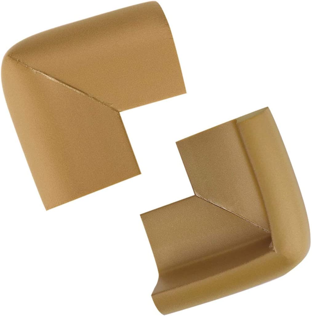 sourcing map 2 Pack Foam Furniture Tables Desk Edge Cover Pad Protector Corner Cushions Bumper Guard Light Brown